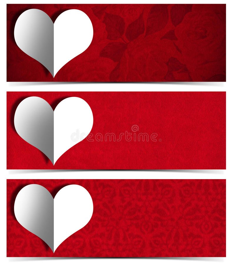 White Paper Heart - Three Banners stock illustration