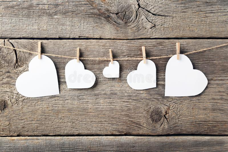 White paper hearts stock photos