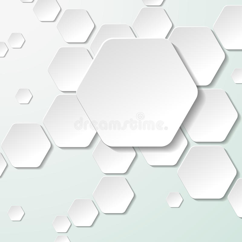 White Paper Hexagon Labels vector illustration