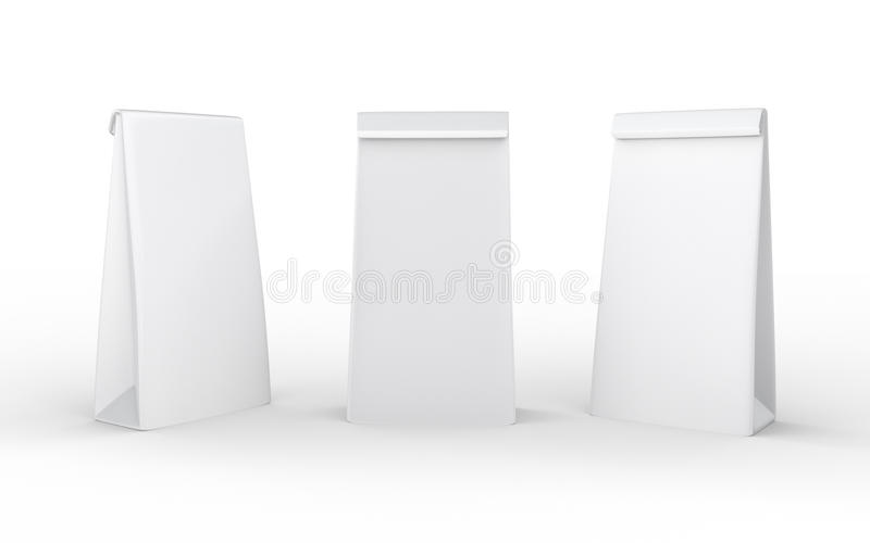 White paper lunch bag isolated on white with clipping path. Packaging for food , snack or ingredient royalty free illustration