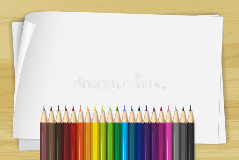 White paper and many color pencils. Illustration vector illustration