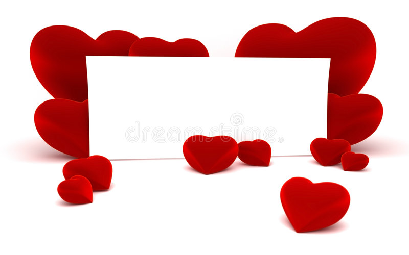 White paper for message and red heart shapes. Close up of a white page ready for your text message on a white continuous background and some shiny red heart royalty free illustration