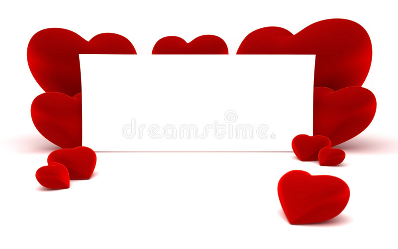 White paper for message and red heart shapes. Close up of a white page ready for your text message on a white continuous background and some shiny red heart vector illustration