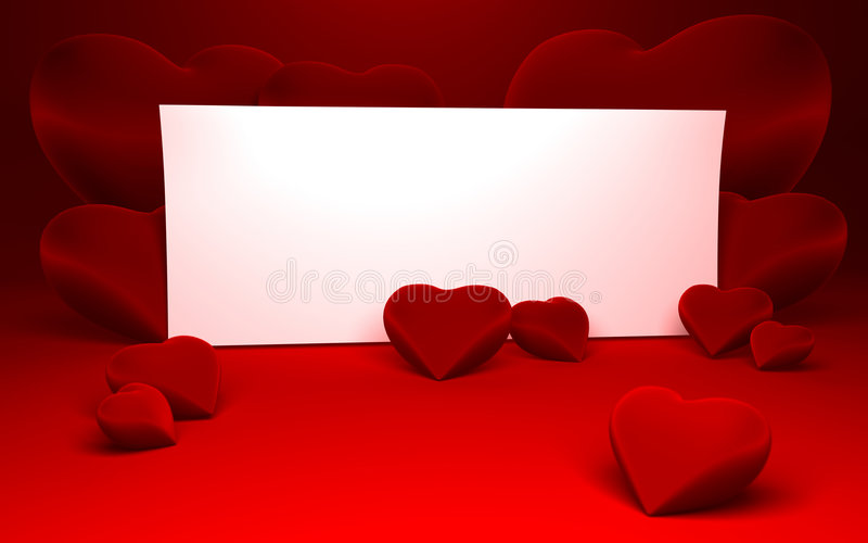 White paper for message and red heart shapes. Close up of a white page ready for your text message on a red continuous background and some shiny red heart shapes vector illustration
