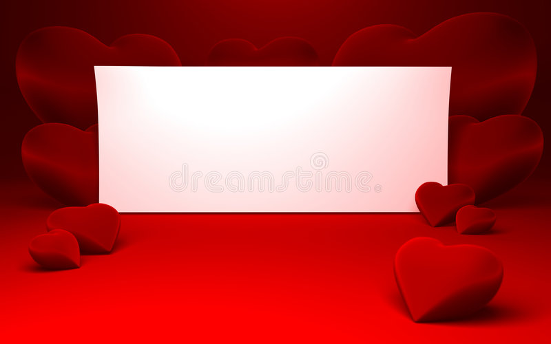 White paper for message and red heart shapes. Close up of a white page ready for your text message on a red continuous background and some shiny red heart shapes royalty free illustration