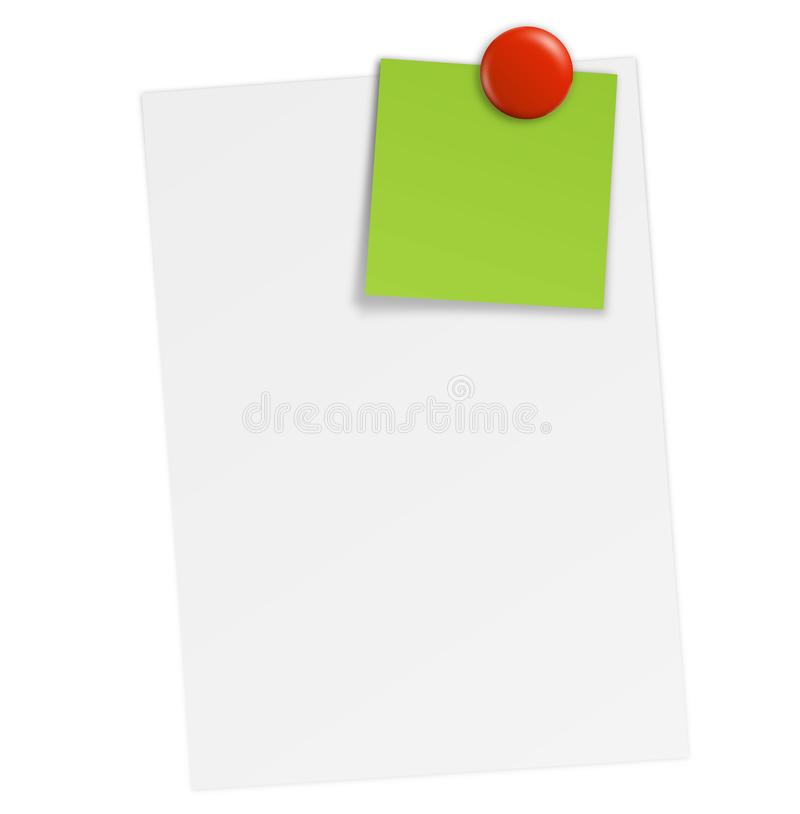 White paper with notes and magnet. Sheet paper post-it sticky note list notebook magnet button magnetic icon refrigerator colorful vector illustration stock illustration