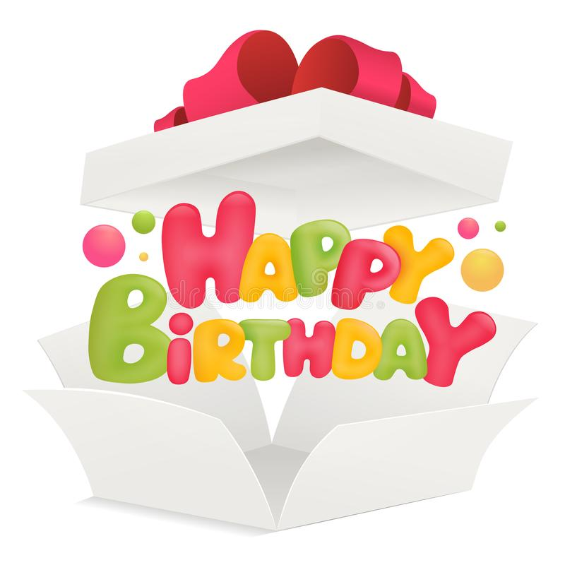 White paper opened box with happy birthday title vector illustration