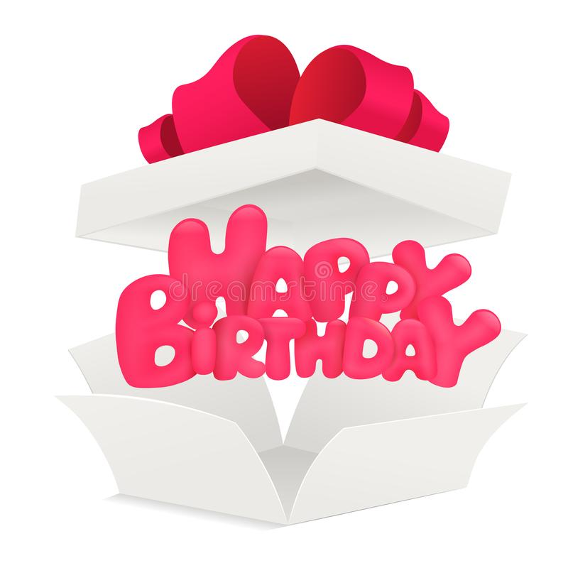 White paper opened box with happy birthday title stock illustration