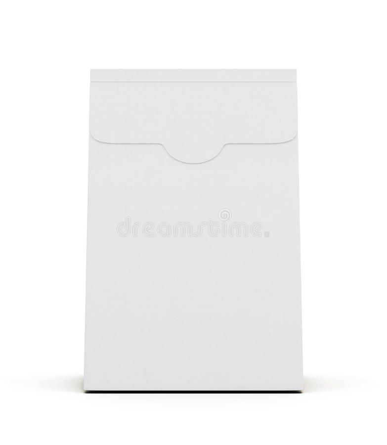 White paper package on white background. Front view. 3d. Rendering vector illustration