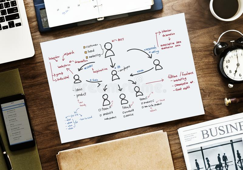 White Paper With People Diagram Print royalty free stock photos