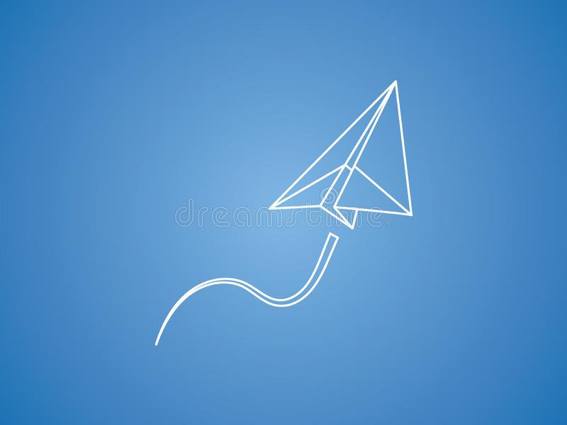 A white paper plane flying up smoothly for transport and aviation business on blue background vector vector illustration