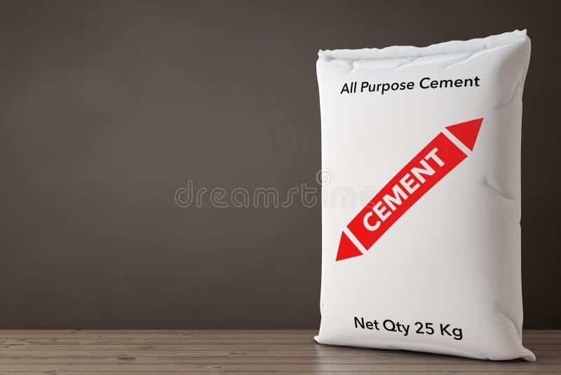 White Paper Sacks Cement Bag. 3d Rendering royalty free illustration