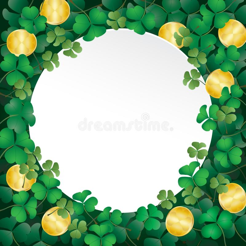 White paper on shamrock leaves and coin royalty free illustration