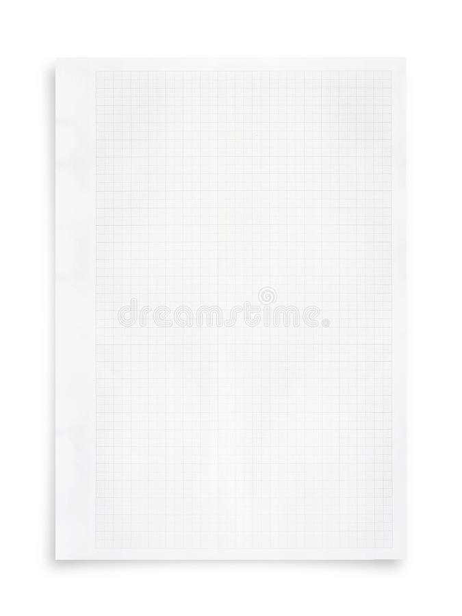 White paper sheet and grid pattern background isolated on white. White paper sheet and grid pattern background isolated on white with clipping path royalty free stock photos
