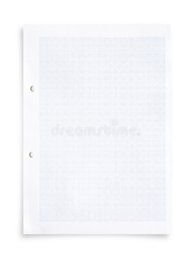White paper sheet and grid pattern background isolated on white. White paper sheet and grid pattern background isolated on white with clipping path stock images