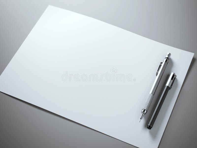 White Sheet Metal : White paper sheet with metal pencil stock image