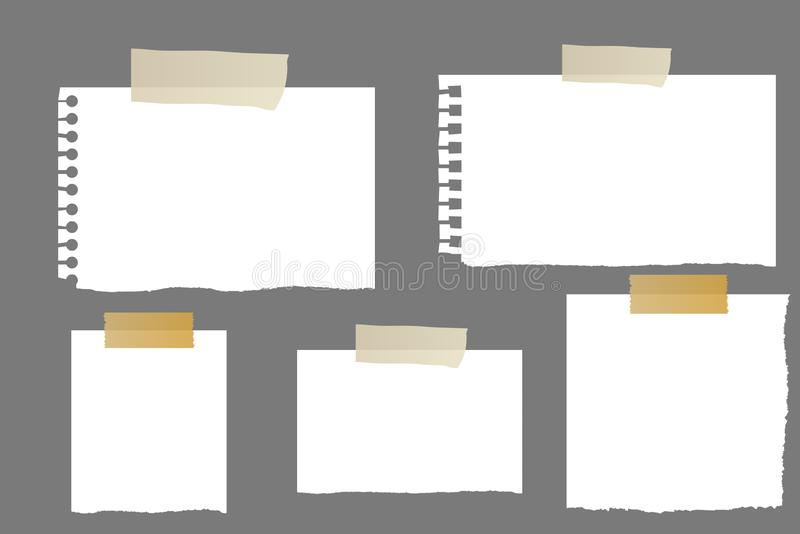 White paper sheets with scotch tape set. royalty free stock photography