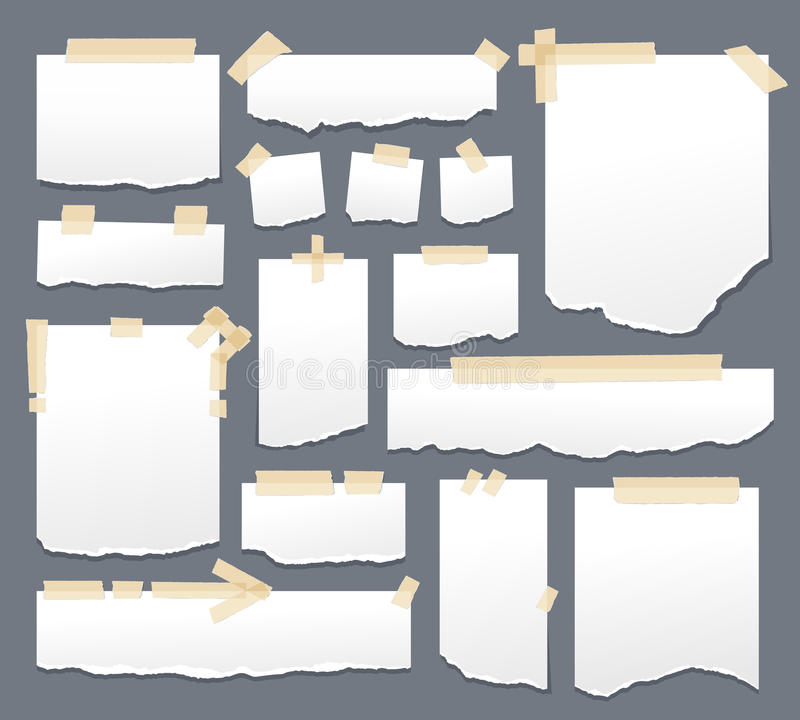 White paper sheets with scotch tape set. Sticky papers with adhesive sellotape stripes vector illustration. Sheet page stock illustration