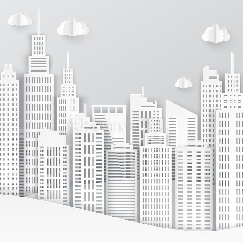White paper skyscrapers. Achitectural building in panoramic view. Modern city skyline building industrial paper art landscape skyscraper offices. Vector vector illustration