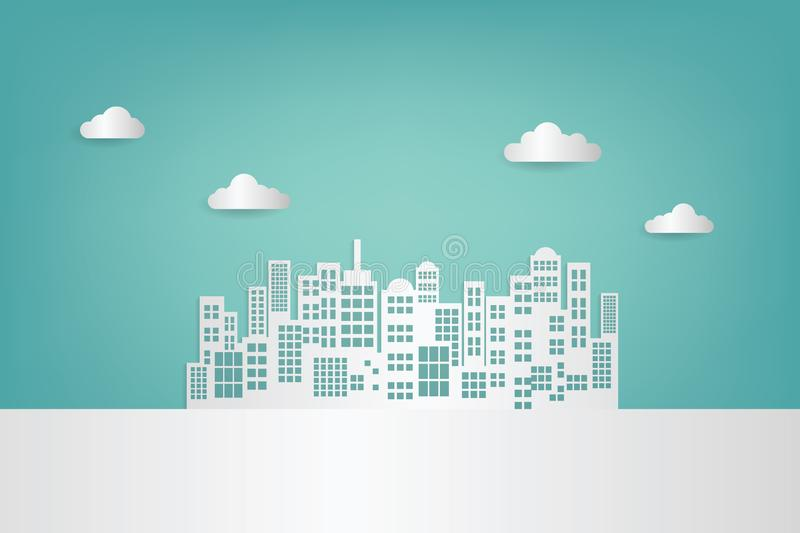 White paper skyscrapers and cloud. Achitectural building in panoramic view royalty free illustration