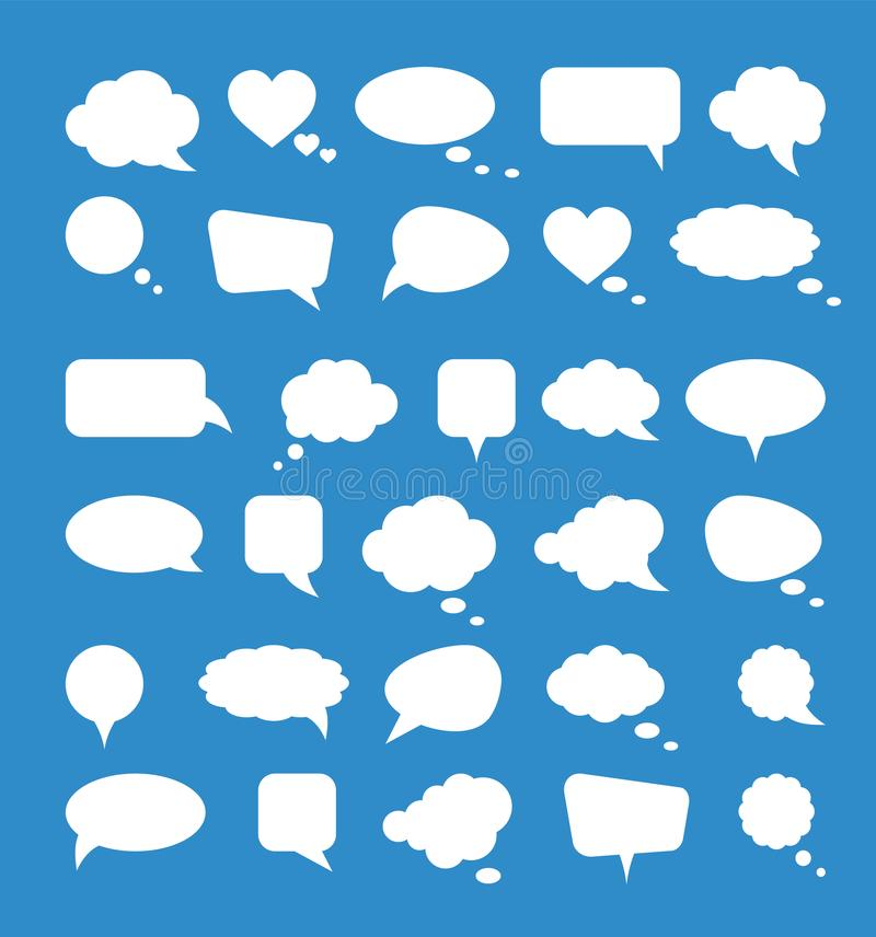 White paper speech bubbles on blue background. Vector illustration vector illustration