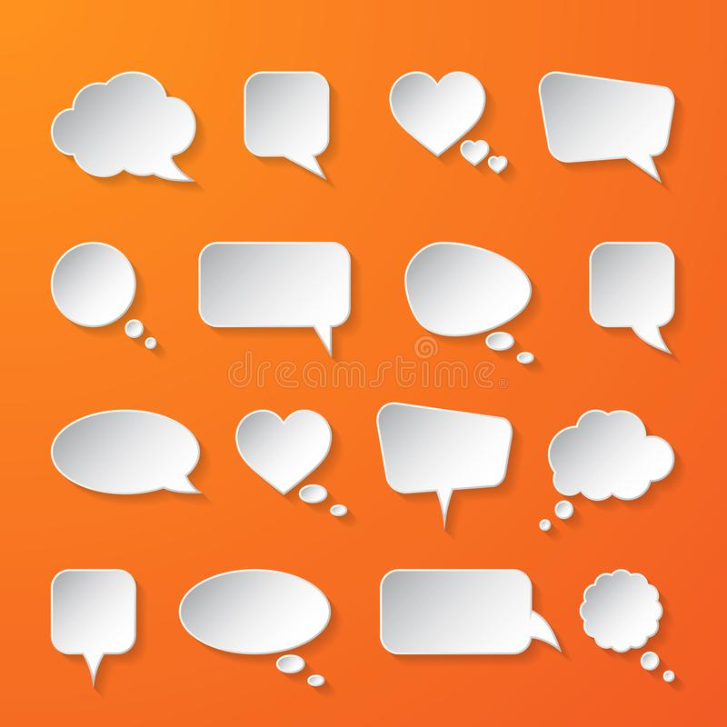 White paper speech bubbles on orange background. Vector illustration royalty free illustration