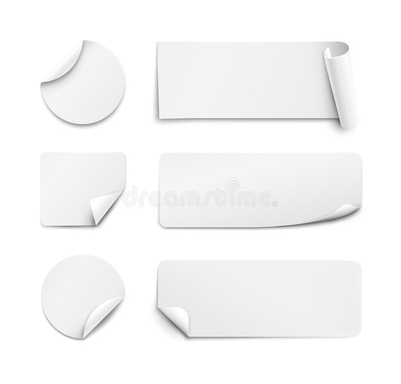 Download white paper stickers on white background stock vector illustration of geometric rectangle