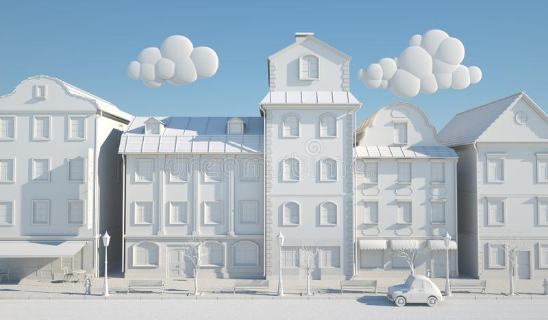 White Paper Style Old town stock illustration