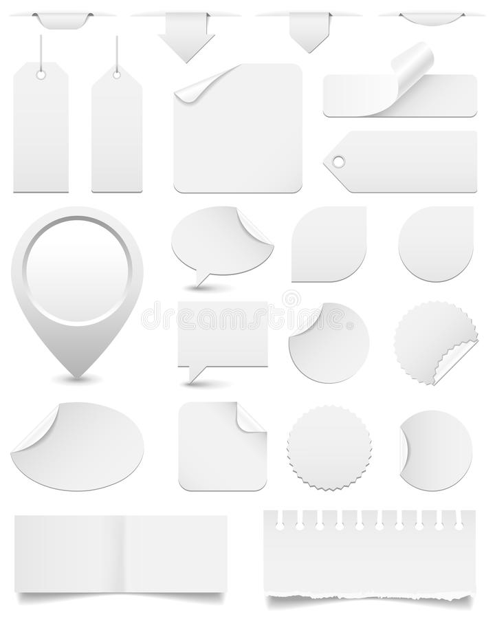 Free White Paper Tags And Stickers Set Royalty Free Stock Photo - 40744785