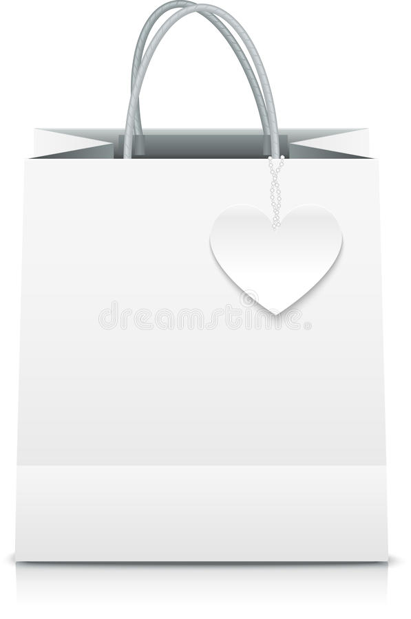 White paper vector shopping bag with heart label. This is file of EPS10 format royalty free illustration