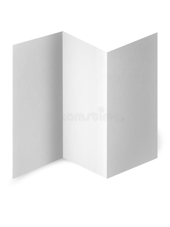White paper on white background. Close up of a paper with curled edge on white background stock illustration