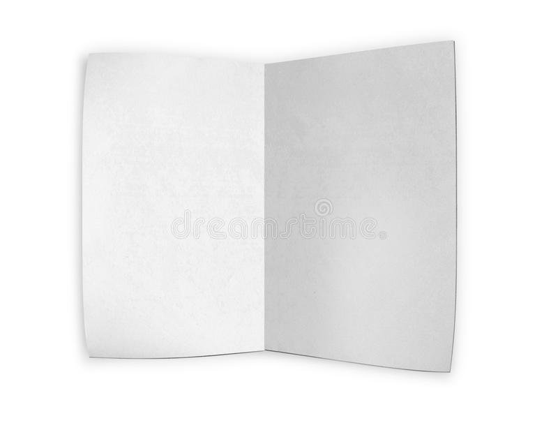 White paper on white background. Close up of a paper with curled edge on white background royalty free illustration