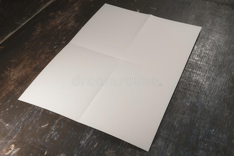 White paper on wooden surface. Close up of white paper on wooden surface. Mock up, 3D Rendering stock illustration