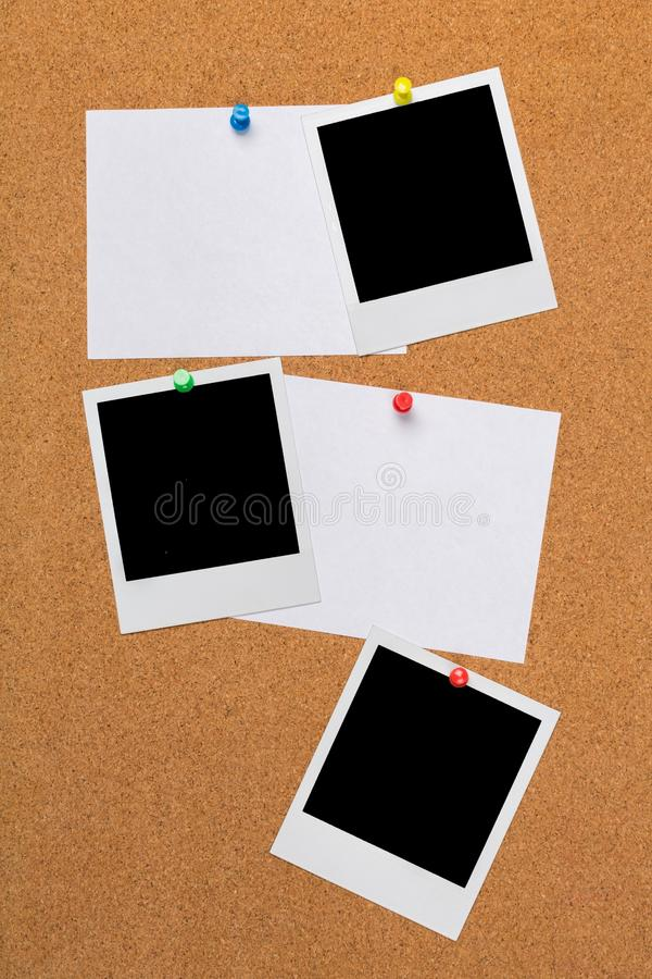 White Papers and Blank Polaroids. Bulletin board papers blank page blank pages pinned pins royalty free stock photo