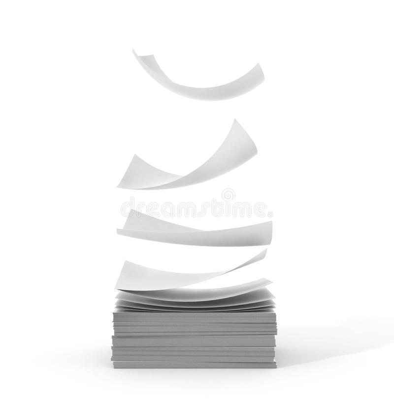 White papers falling up on white background. royalty free illustration