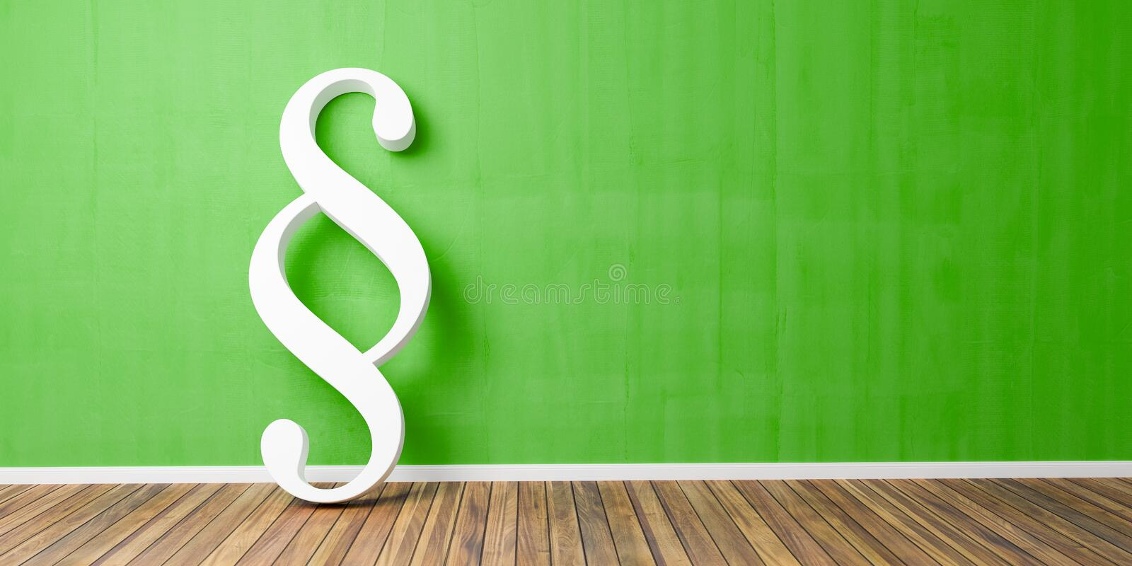 White Paragraph smybol against a green wall - law and justice concept image - 3D Illustration royalty free illustration