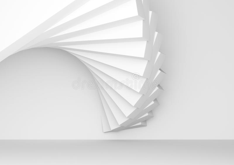White parametric spiral installation of boxes. Abstract geometric architectural background, white parametric spiral installation of boxes, 3d render illustration stock images