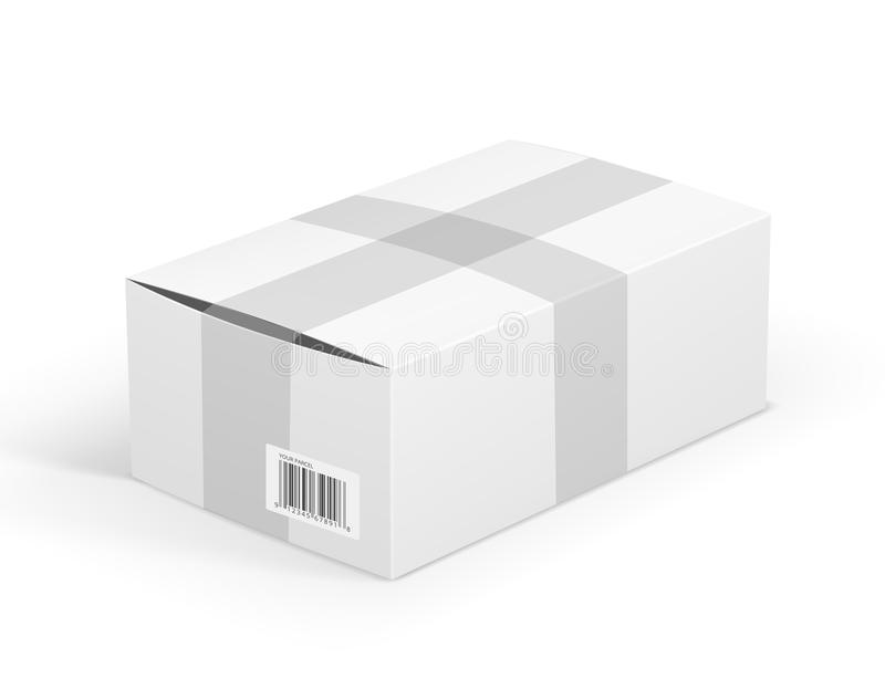 White parcel. Whie blank cardboard package box. Vector illustration royalty free illustration
