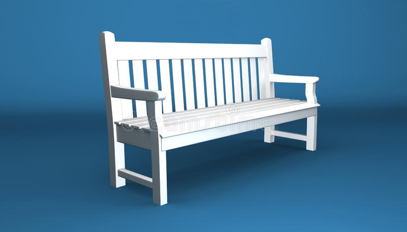 White Park Bench With Shadows - Isolated On Blue Background royalty free stock photos