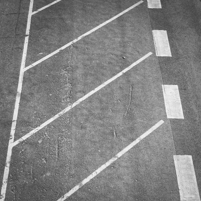 White parking spot lines. On grey asphalt stock photos