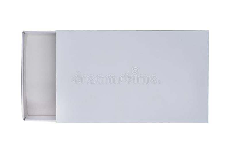 White parted paper box. Isolated on white background stock images