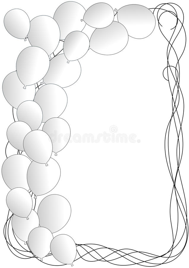 White Party Invitation Card with balloons stock illustration