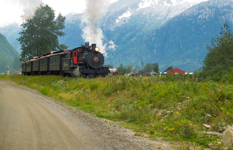 White Pass Train in motion, Skagway, Alaska, USA royalty free stock image