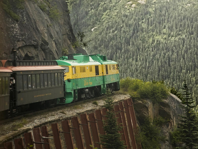 Scenic White Pass & Yukon Route. The White Pass & Yukon Route railroad was built in 1898 concurrent with the Klondike gold rush in the Yukon Territory. It was royalty free stock photography