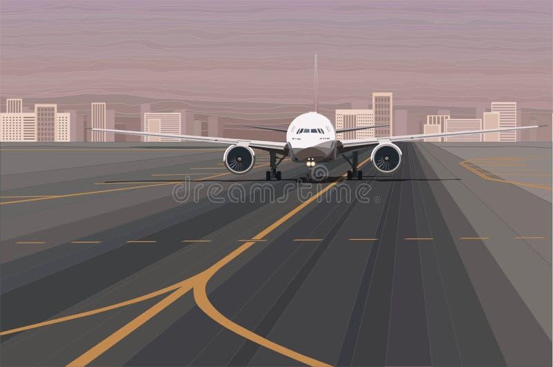 White passenger airplane on the airport runway vector illustration stock illustration
