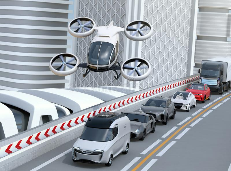 White passenger drone flying over cars in heavy traffic jam. Concept for drone taxi. 3D rendering image vector illustration