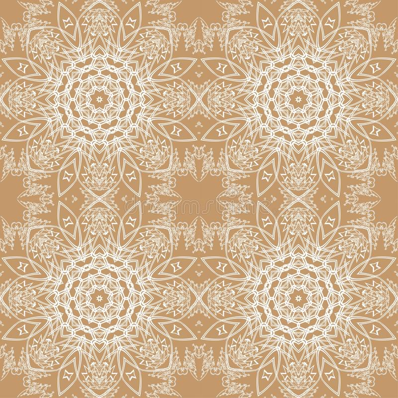 White lace pattern. White pattern, exquisite, design, abstract lines on a beige background vector illustration