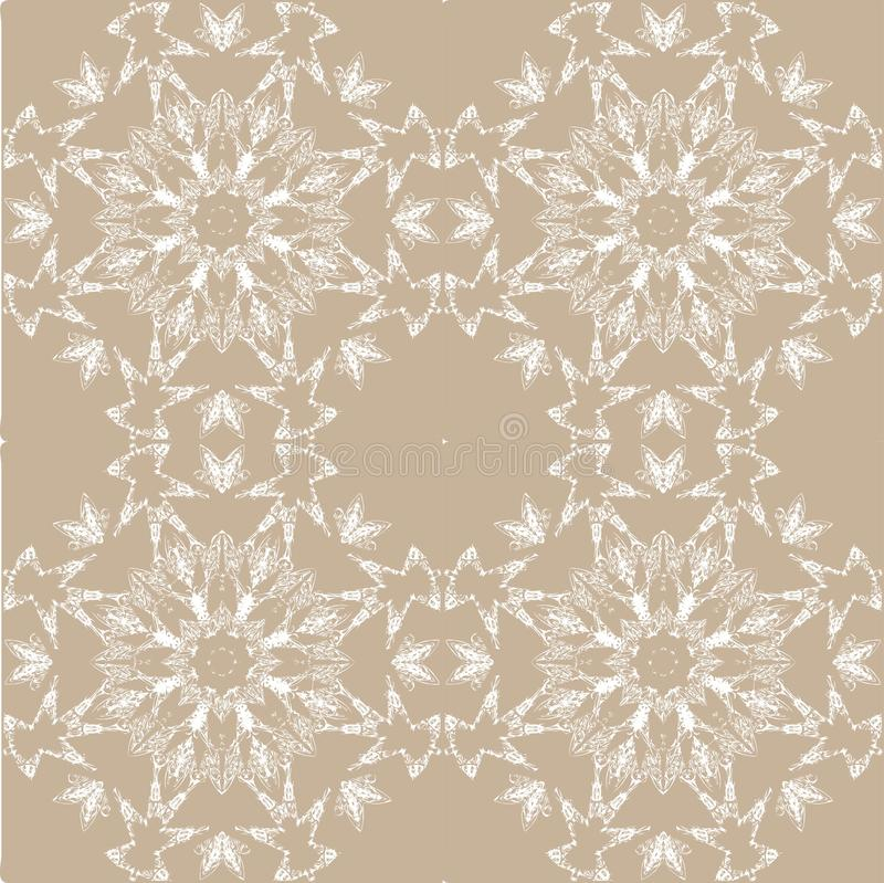 White lace pattern. White pattern, exquisite, design, abstract lines on a beige background royalty free illustration
