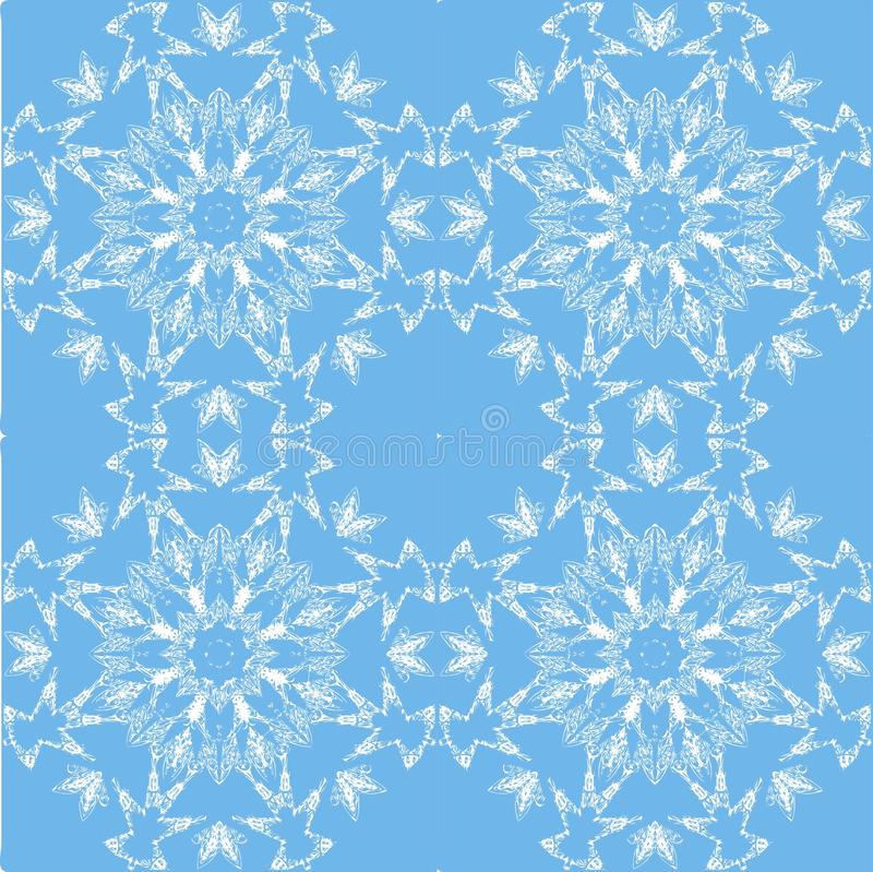 White lace pattern. White pattern, exquisite, design, abstract lines on a blue background vector illustration