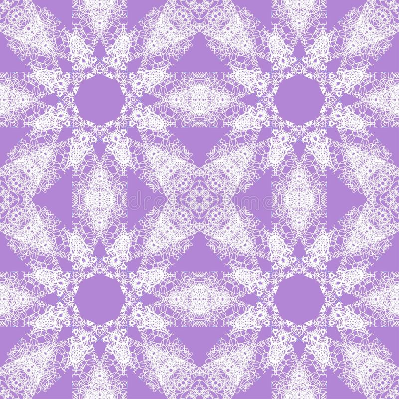 White lace pattern. White pattern, exquisite, design, abstract lines on a purple background vector illustration